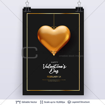Golden heart and luxurious golden frame on black.