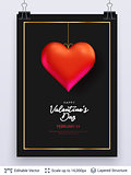 Red heart and luxurious golden frame on black.