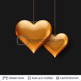 Pair of 3D Heart shaped red air balloons.