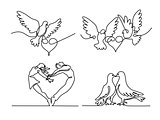 Set continuous flying two pigeons with heart logo