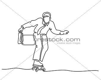 Office man riding skateboard