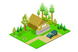 Isometric Cabin in Woods
