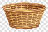 Empty wicker basket for flowers. Nest on transparent background
