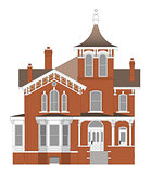 Old house in Victorian style. Illustration on white background. Species from different sides.