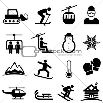 Ski, winter sports and snow icons