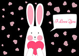 Happy rabbit - Valentene s day illustration.