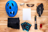 objects for cycling on wooden boards top view