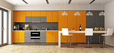Orange and gray modern kitchen with wooden island - 3d rendering