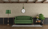 Classic living room with green sofa