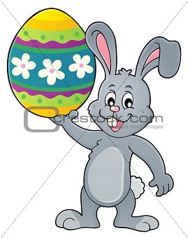 Bunny holding big Easter egg topic 1