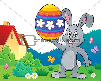 Bunny holding big Easter egg topic 2