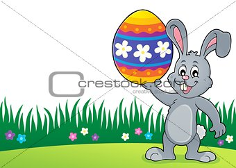 Bunny holding big Easter egg topic 3