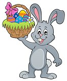 Bunny holding Easter basket topic 1
