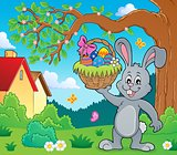 Bunny holding Easter basket topic 2