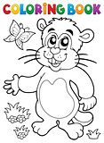 Coloring book groundhog theme image 1