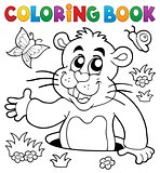 Coloring book groundhog theme image 2