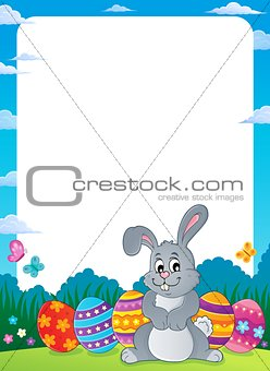 Frame with Easter rabbit thematics 1