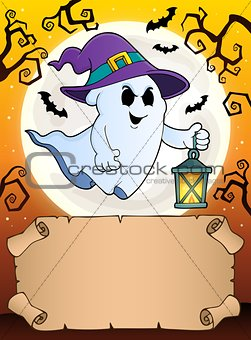 Small parchment and ghost with lantern