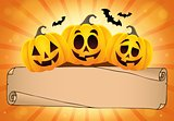 Wide parchment and Halloween pumpkins 1