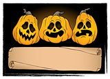 Wide parchment and Halloween pumpkins 3