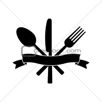 Knife, fork, spoon and ribbon