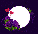 Purple roses and two heart shape symbol love. Frame template greeting card