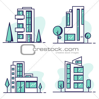 Houses set line vector