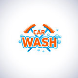 Car wash cartoon style emblem with bubbles and mop, isolated vector logo template. Cleaning service company logotype.
