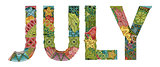 Word JULY. Vector decorative zentangle object