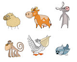 Six animals cartoon characters
