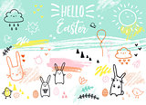 Hand-drawn Easter card with bunnies, vector