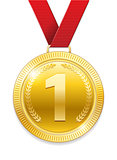 Champion Award gold Medal for sport prize. Shiny medal with red ribbon isolated on white background. Vector illustration