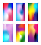 Set of modern colored wallpapers. Elegant Blurred phone background with gradient mesh. Deep Multicolor wallpaper for smartphone. Vector illustration