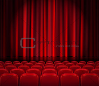 Closed Red Curtains with Seats in a theater or ceremony. Realistic Theater hall, Opera or Cinema Scene for your design. Movie premiere poster. Vector Illustration.