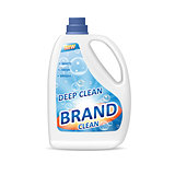 Product package design for bathroom. Colored detergent bottle container with washing gel or laundry detergent. 3d realistic vector illustration