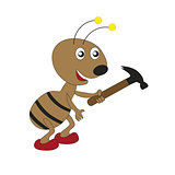 Cartoon worker ant with a hammer.