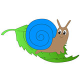 Cute cartoon snail sits on a green leaf.