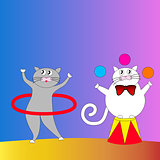 Two cartoon cats performing in the circus.