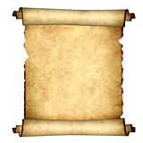 Old parchment. Isolated on white background