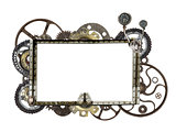Metallic frame with vintage machine gears and cogwheel