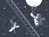 Astronauts playing tennis in outer space