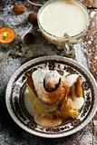 Egg Nog Cinnamon Rolls..style rustic .selective focus.
