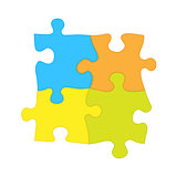 Four jigsaw puzzle pieces - solidarity and teamwork symbol