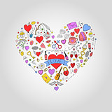 Abstract colorful heart with valentines day doodle elements. Holiday card, background