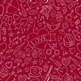 Valentines day seamless pattern - doodle style. Abstract holiday background