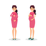 Pregnant happy flat women. Future mom cartoon character. Expectant mother posing.