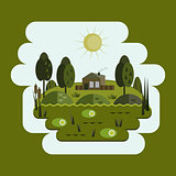 House in the swamp, swamp, flat design