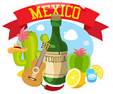 Mexico. Vector illustration with symbols of Mexico
