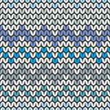 Tile blue and grey zig zag knitting vector pattern