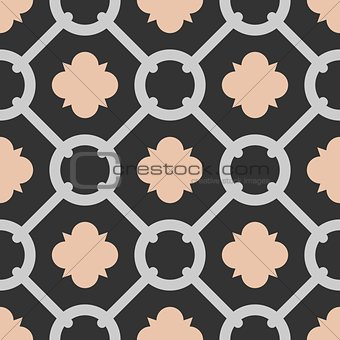Tile black, pink and grey decorative floor tiles vector pattern